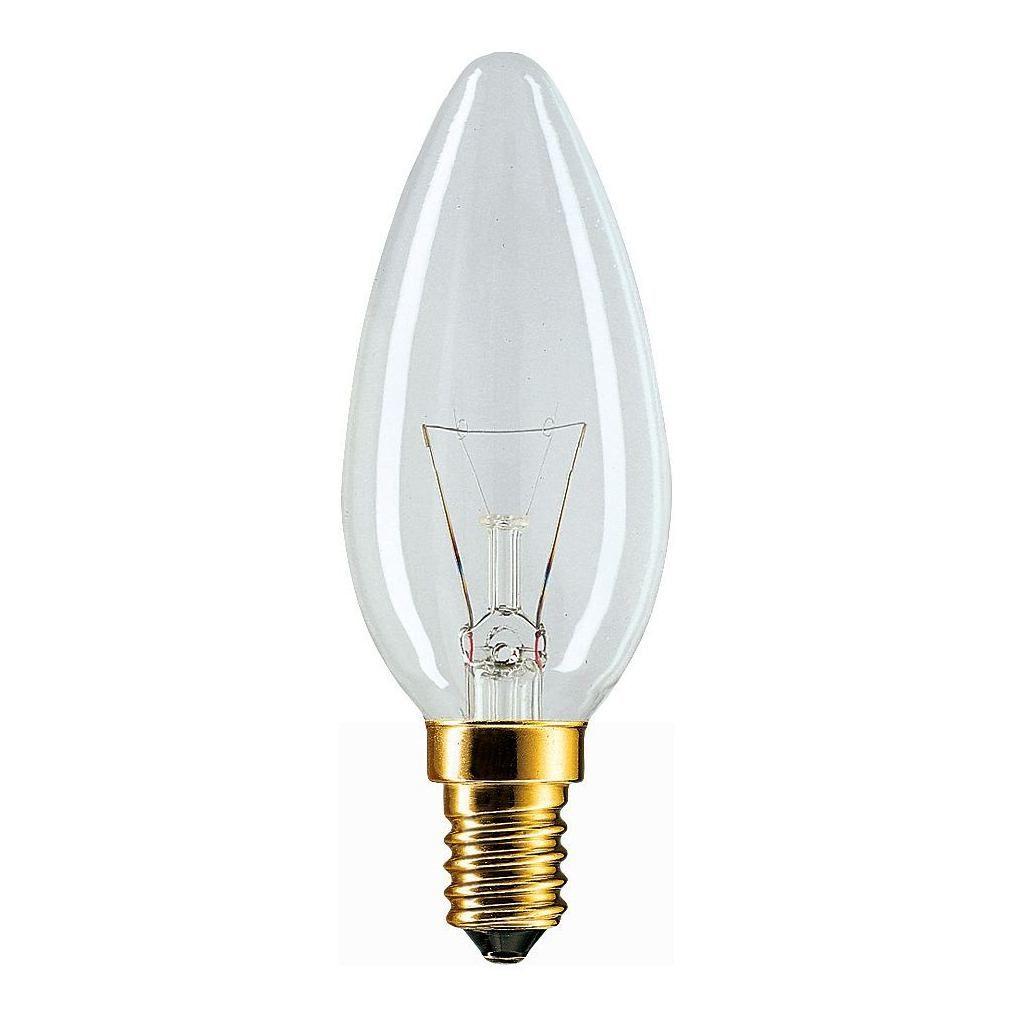 Купить Лампа накаливания Philips B35 40W 230V E14 CL.1CT/10X10F свеча, прозрачная