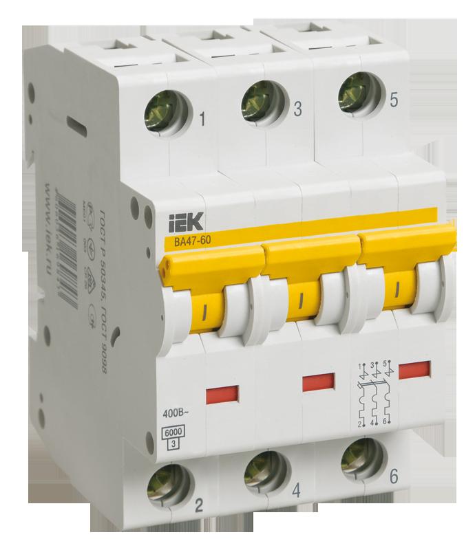Купить Выключатель автоматический 3-пол. 50A с 6кА ВА47-60 IEK, IEK (ИЭК)