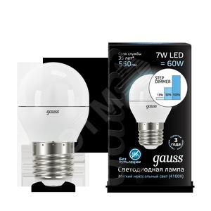 Купить Лампа светодиодная LED 7вт, 230в, Е27, белый, step dim, шар Gauss Gauss, Китай