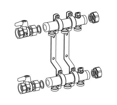 Распределительный коллектор REHAU HLV 8 для систем радиаторного отопл REHAU *123