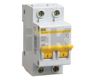 Купить Выключатель автоматический 2-пол. 16A с 4, 5кА ВА47-29 IEK с ВА47-29, IEK (ИЭК)