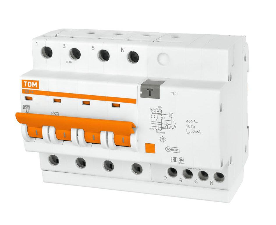 Купить Дифференциальный автомат 4-пол. 25А с 30мА 4, 5кА АД14 TDM АД12, , TDM ELECTRIC