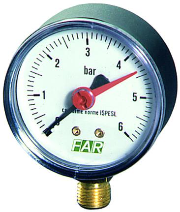 Купить Манометр FAR 1/4 (радиальное соед.), 0-6 бар, 20-80 °C, O 63 мм, , Италия