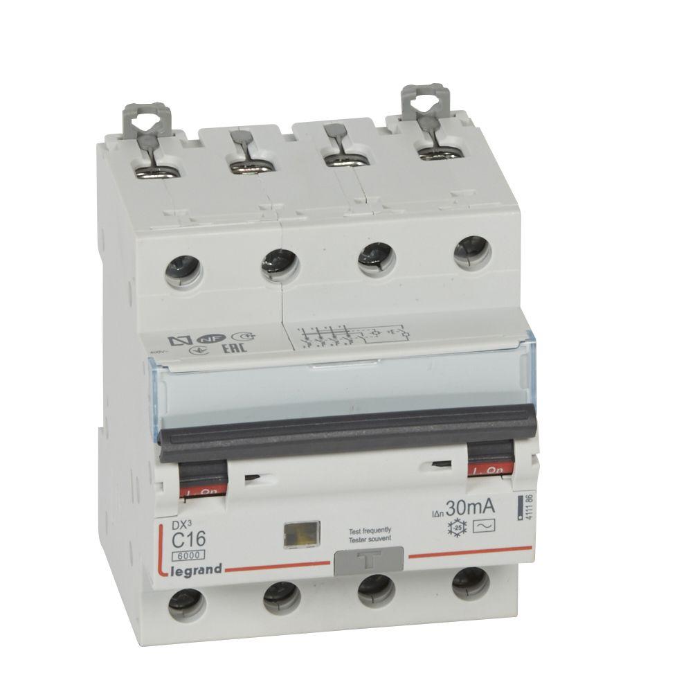 Купить Дифференциальный автомат 4-пол. 16А 30mA тип AC DX3 Legrand