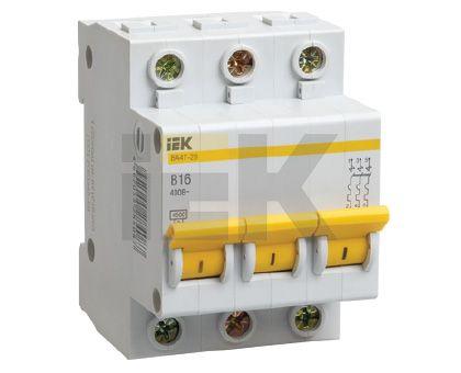 Купить Выключатель автоматический 3-пол. 16A с 4, 5кА ВА47-29 IEK с ВА47-29, IEK (ИЭК)