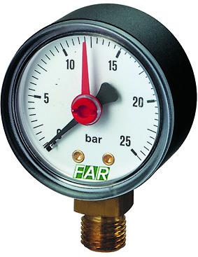 Купить Манометр FAR 1/4 (радиальное соед.), 0-25 бар, - 30-120 °C, O 50 мм, Италия