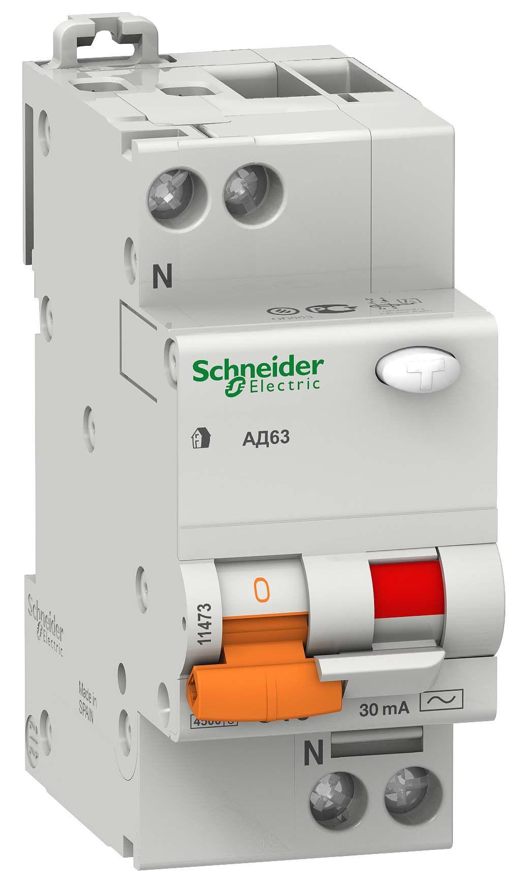 Купить Дифференциальный автомат 1пол.+N 25А 30мА 4, 5kA Domovoy Schneider Electric