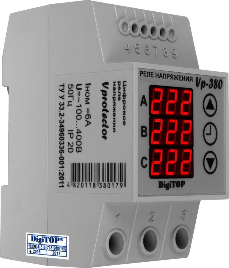 Купить Реле контроля 3-фаз. напряжения Vp-380, DigiTOP