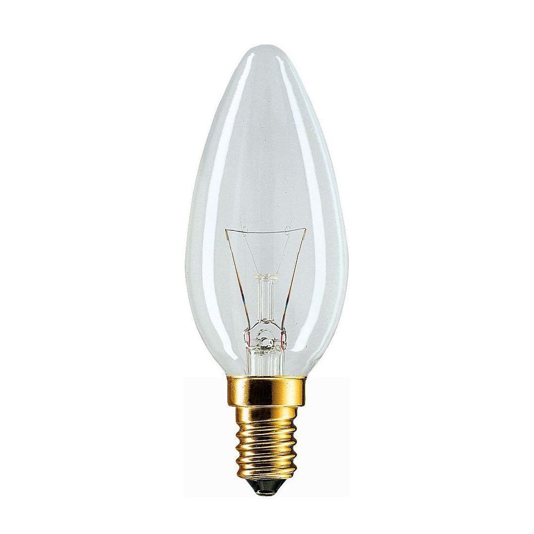 Купить Лампа накаливания Philips B35 60W 230V E14 CL.1CT/10X10F свеча, прозрачная