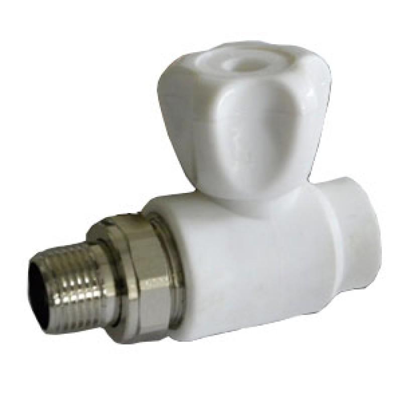 Купить Кран шаровой PPR белый 20 х 34 НР для радиатора (8569) FDplast