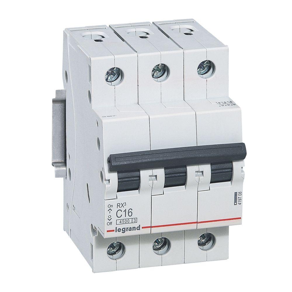 Купить Выключатель автоматический 4, 5кА 3 пол. 6А с RX3 Legrand RX3 4, 5кА